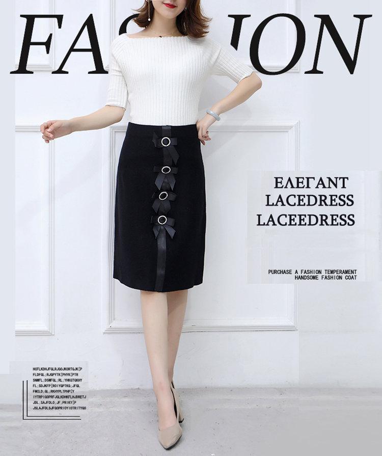 New 2019 Skirt Autumn Elegant Office Skirts Women High Waist Faldas Mujer Casual Black Skirt Chic Bow Saia Femme Invierno (1)