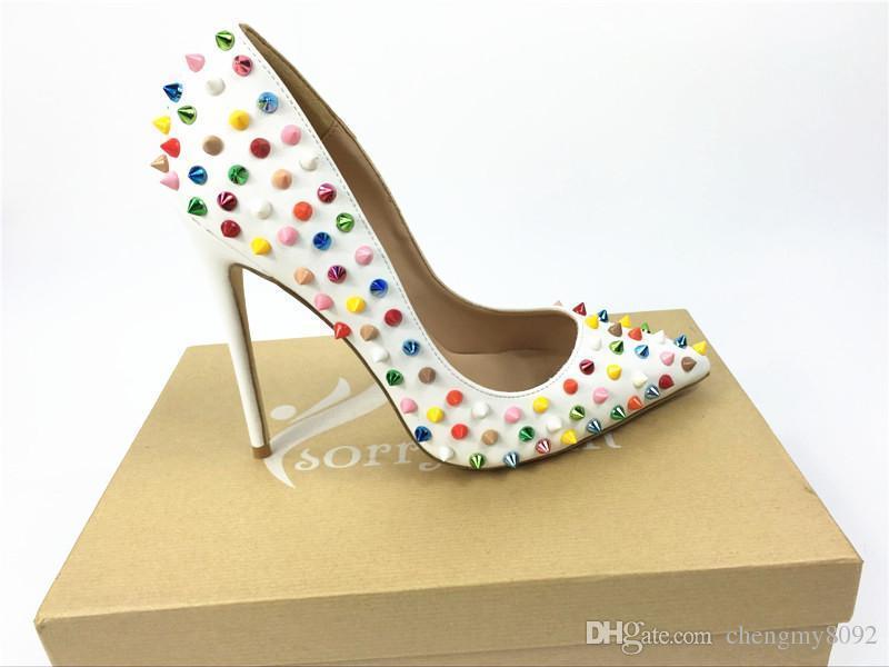 zapatos de marca rojo endrino mujeres bombas zapatos de tacón alto remache dedo del pie puntiagudo talón fino zapatos de boda señora para la fiesta de la moda roja + logo + caja