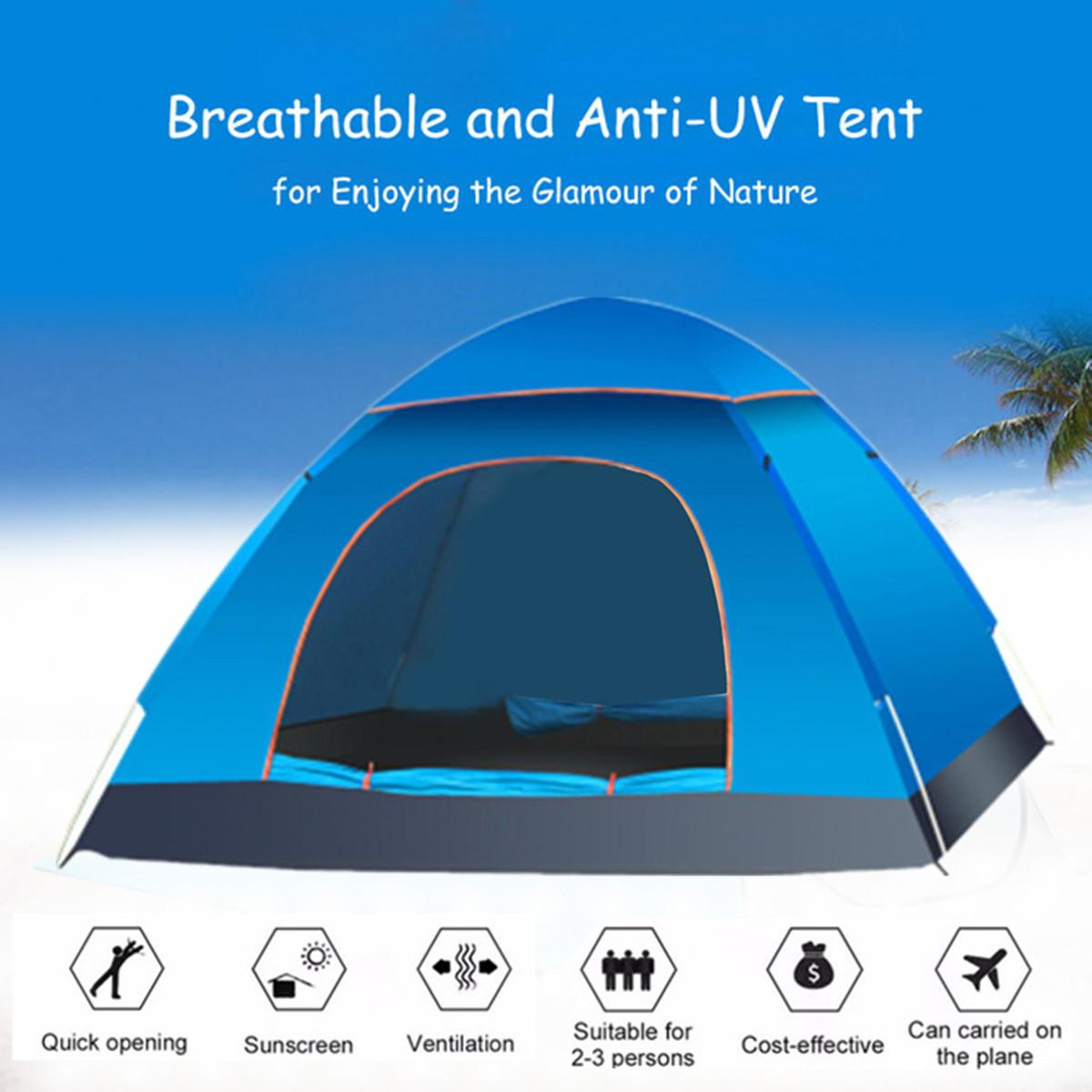 UV Protection 2-3 Person Camping Tent Automatic Quick Up Outdoor Shelter 190T Oxford Shading Light-weight Ventilation Safe