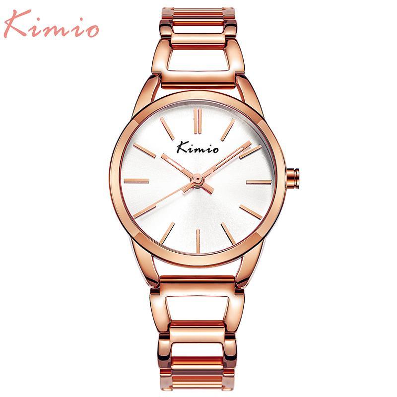 KIMIO кварцевые очаровательные нержавеющей стали обратно браслет часы женщины дамы платье Кристалл часы элегантный роскошные наручные часы с коробкой S924W