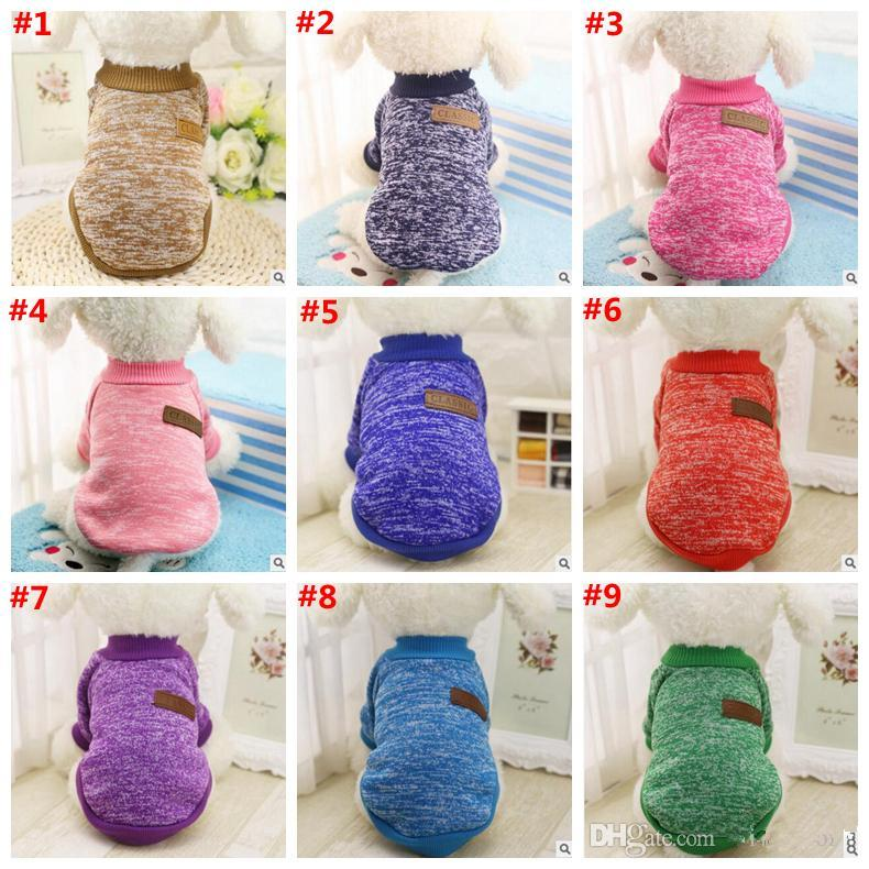New Dog Clothes Pet Supplies Small Dog Apparel Cotton Pet Clothing Sweater for Pet Clothes Winter Playsuit Dog Supplies 12 Colors 2289