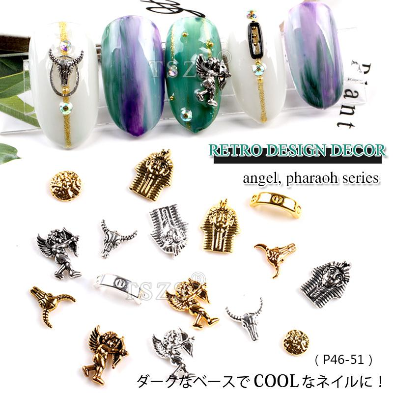 25 шт. / лот золото серебро 3D ретро украшения искусства ногтя ангел фараон сплава Стад DIY маникюрные инструменты ногтей Шарм
