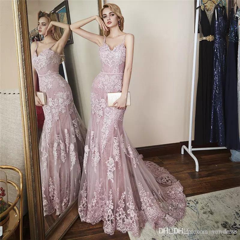 2020 Pink Пром платья Шнурок Mermaid Sweep Поезд Sexy бретелек Элегантный вечер мантий V шеи плюс размер специального случая платье