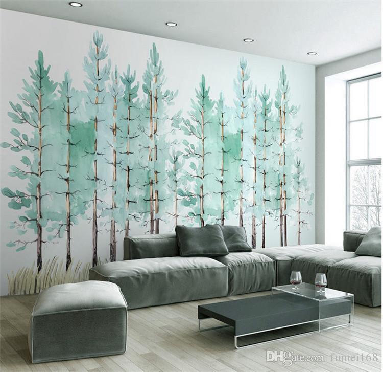Compre Moderno Y Simple Dormitorio Sala De Estar Wallpaper Pequeño árbol Verde Fresco Fondo Nórdico De Tv Mural De La Pared Fondos De Pantalla A