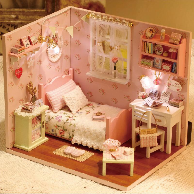 Furniture DIY Doll House Wodden Miniatura Doll Houses Furniture Kit Puzzle Handmade Dollhouse Toys For Children girl gift H002