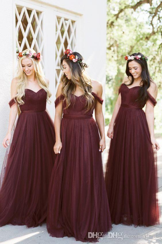 6c8fd6558fc1 2018 Dark Red Country Bridesmaid Dresses Off the shoulder Tulle Pleated  Floor length Cheap Designer Empire Waist Wedding Guest Formal Gowns