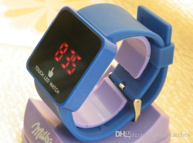 Палец сенсорный экран LED часы студент мода повседневная желе цвет LED сенсорный экран часы Наручные часы