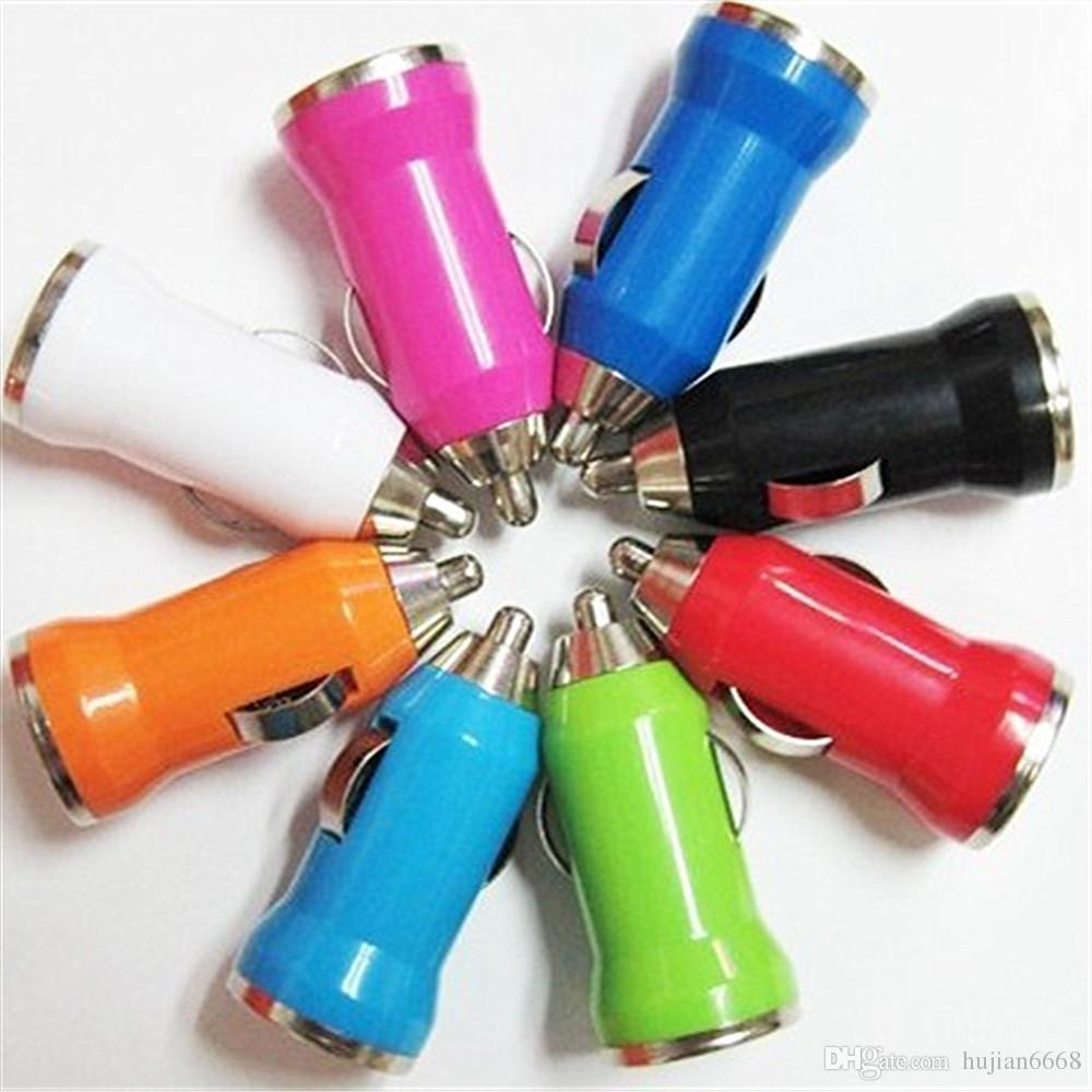 500pcs/lot Colorful Bullet Mini USB Car Charger Universal Adapter for iphone 4 4S 5 5S 5C 6 6G 6S Samsung Galaxy S3 S4 S5 5 Cell Phone P