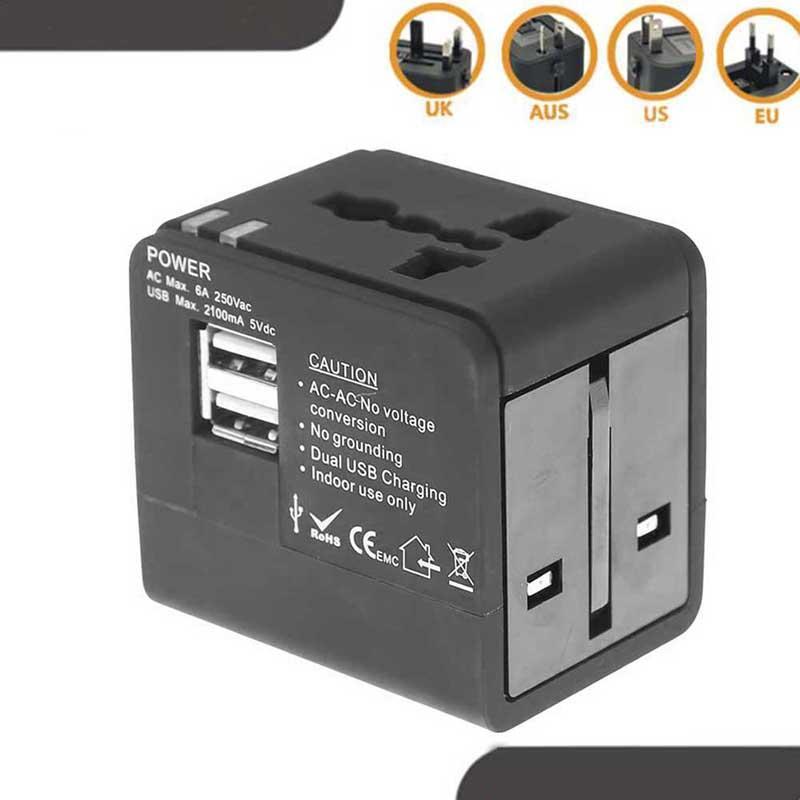 Universal de viaje adaptador de alimentación Adaptador eléctrico enchufes hembra convertidor adaptador de viaje USB del enchufe del zócalo de energía del convertidor del cargador
