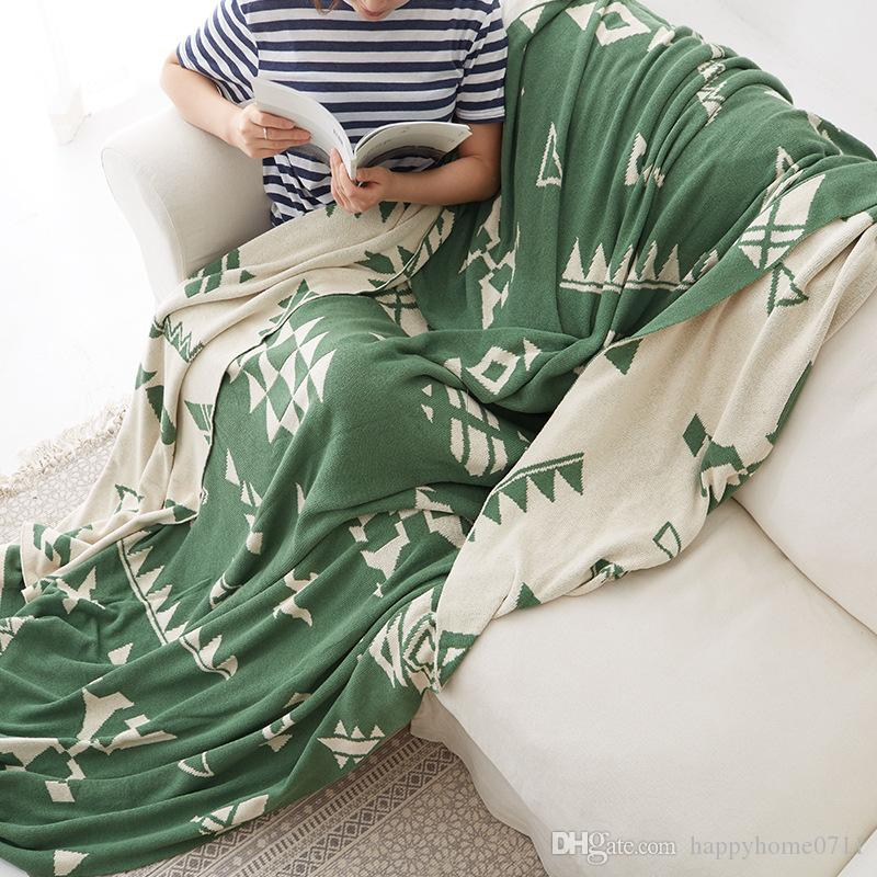 Geometric pattern cotton knit blanket summer thin blanket single double nap sofa cover cotton air conditioning double-sided two-tone blanket