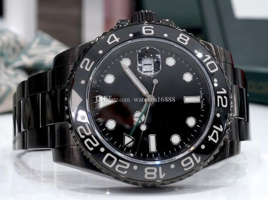 Reloj de alta calidad de lujo Negro GMT 40mm Bisel de cerámica 116710 en DLC PVD Asia 2813 Movimiento automático Reloj para hombre Reloj