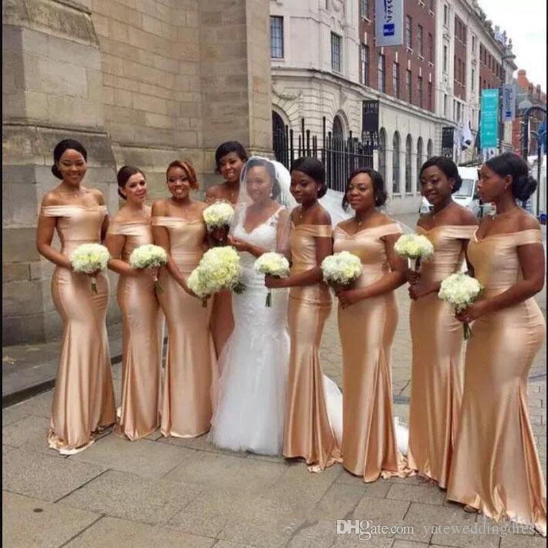 2018. шампанское невеста платье плеча Mermaid Формальной партии платье Назад молния Поезд стреловидность сшитых Длинные невесты халаты