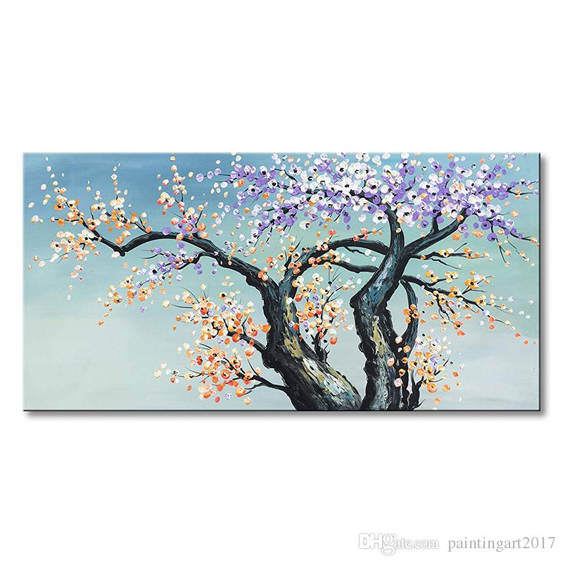Hand Painted Modern Plum Blossom Canvas Wall Art Multi-color Flower Oil Painting for Wall Decor (48x24 inch)