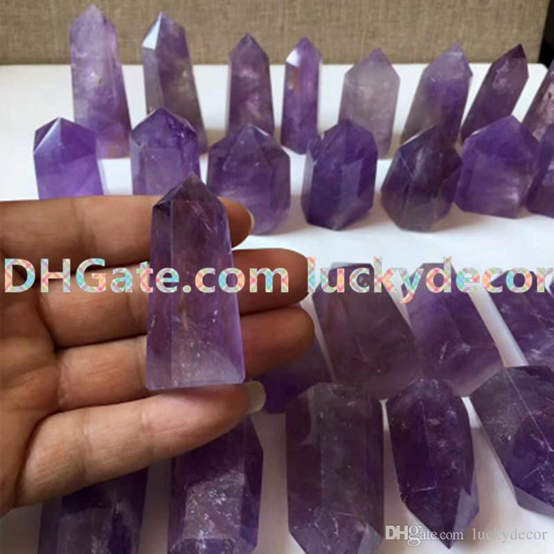 10pcs Various Sizes Natural Amethyst Gemstone Points Genuine Amethyst Single Terminated Magic Wand 6 Sided Prism Crystal Grid Pagan Altar