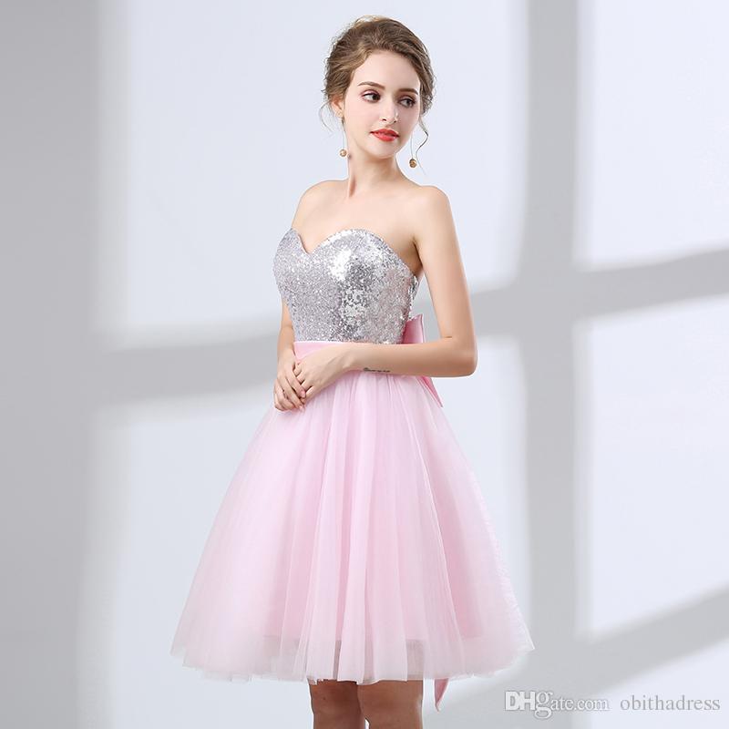 Compre Vestido De Baile Rosa Dulce Bola 2018 Nuevo Vestido De Cóctel ...