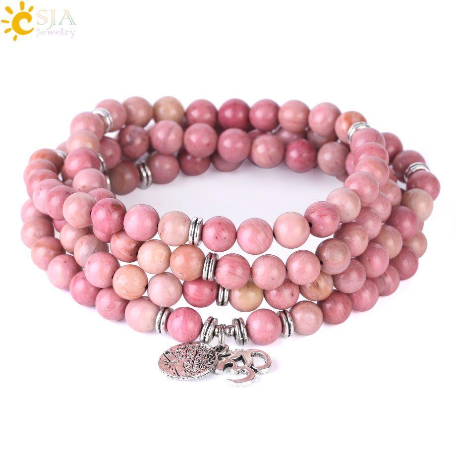 CSJA 108 Mala Line Rhodonite Rosary Bead 8mm Buddhism OM Natural Stone Bracelets Reiki Healing Life Tree AUM Meditation Prayer Jewelry F413