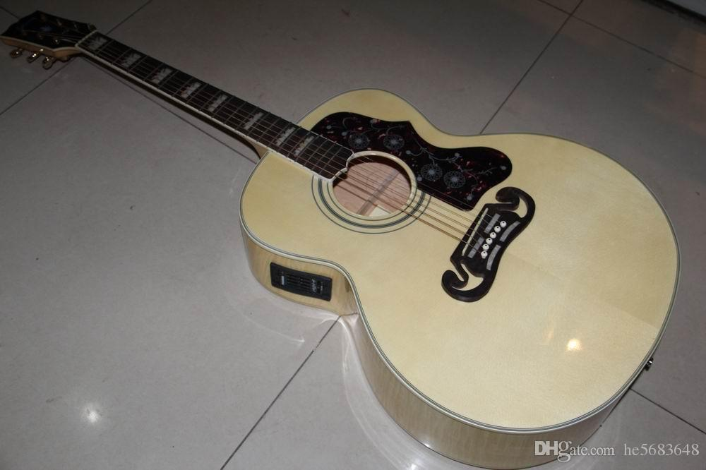 Frete grátis! Atacado New Arrival 43 # SJ200 Acústico guitarra elétrica com Fishma 301Top Qualidade Na Natural 120117