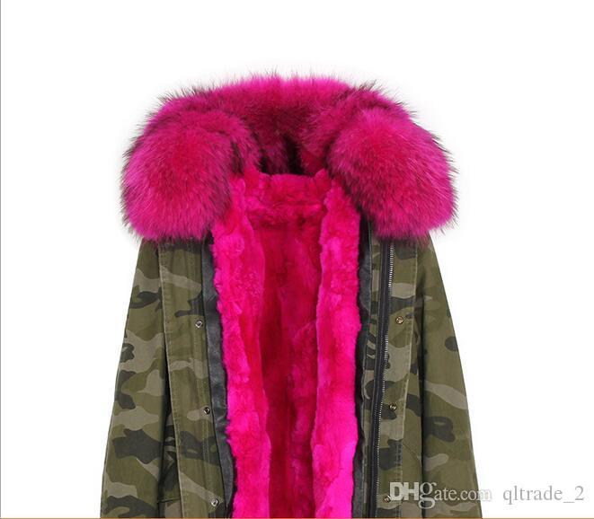 2018 Kobieta Cold Coats Jazvevar Pink Raccoon Futro wykończenia Kobiety Futro Kurtka Różowa Królik Futro Podszewka Khaki Mini Parkas