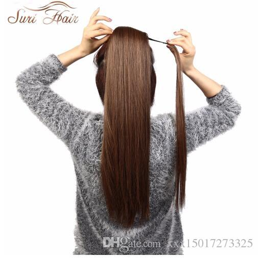 24'' Long Silky Straight Ponytails Clip In Synthetic Pony Tail Heat Resistant Fake Hair Extension wrap round hairpiece