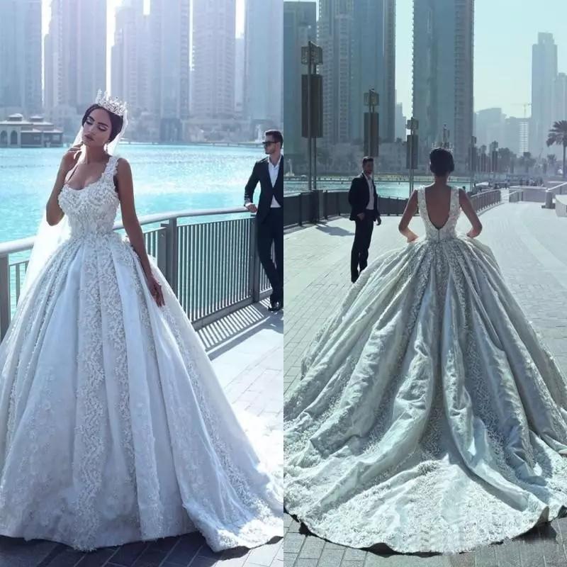 Said mhamad de bola vestidos de novia vestido de encaje con espaguetis con cuentas Apliques Corte tren sin respaldo vestidos de boda nupcial