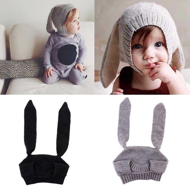 2019 Children's Autumn Winter Wool Caps Cute Baby Knitted Crochet Animal Rabbit Ear Beanie Hats Creative Knit Hat toddlerhat