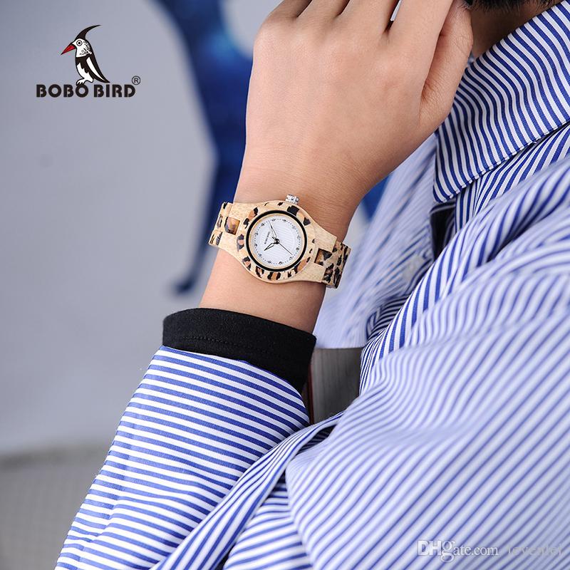 BOBO BIRD P26 New Brand Analog Leopard Wristwatches Bamboo Wood Horological Women Clocks for Ladies Watch 2018