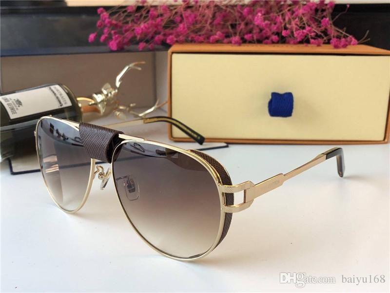 Vintage Metal Gold/Brown Pilot Sunglasses oculos de sol mens sun glasses Shades New with box