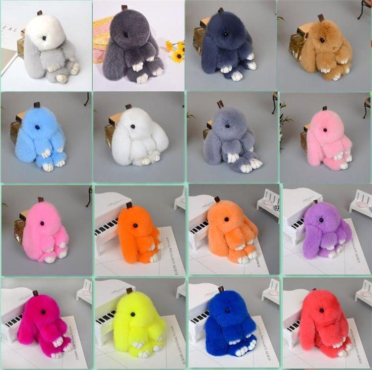 Più nuovi colori multicolore simpatico coniglietto portachiavi 13-15 cm soffici pompon pelliccia portachiavi coniglio llaveros mujer auto bag pendenti c0150