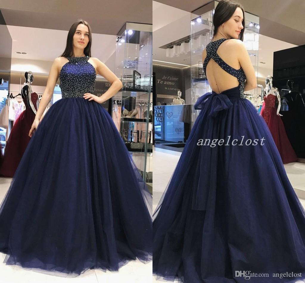 a3b373357 Compre 2019 Azul Marino Oscuro Vestido De Bola Vestidos De Quinceañera Con  Espalda Hueca Bateau Con Cuentas De Cristal Largos Vestidos De Fiesta De  Baile ...