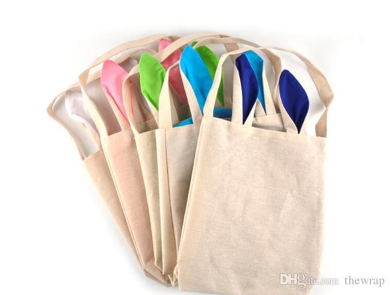 5 Colors Easter Bunny Bags Rabbit Ears Design Basket Jute Cloth Material Tote Bag Burlap Easter Gift Bags Festival Party Handbag By DHL