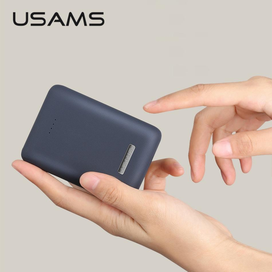 Mini Power Bank 10000mah USAMS Light Dual USB Ultra-thin Portable External Battery Charger Powerbank for iphone X 6 Xiaomi MI8