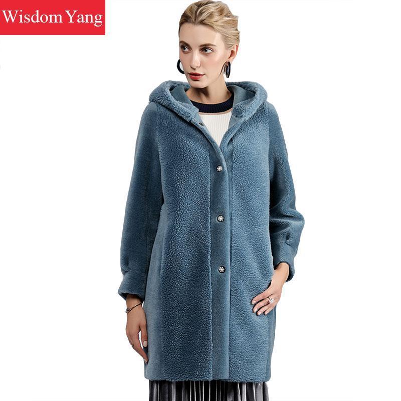 Женская шерстяная смесь элегантные женские бежевые голубые овечья пальто кашемировой женщины с капюшоном зима теплые женские шерстяные дамы свободные пальто пальто