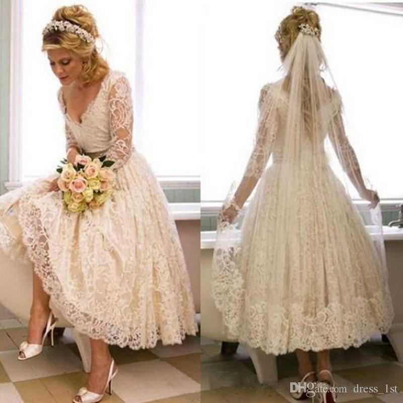 sneakers for cheap new design low priced Discount Vintage 1950s Champagne Lace Tea Length Wedding Dresses With 3 / 4  Length Sleeves V Neck A Line Beach Bridal Gowns 2018 Pattern Perfect ...
