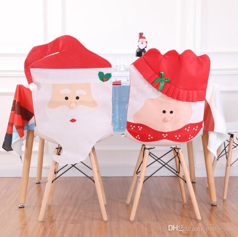 Funny Christmas Old Man Woman Design Chair Covers Indoor Christmas Chair Covers Decoration Supplies 2 Style