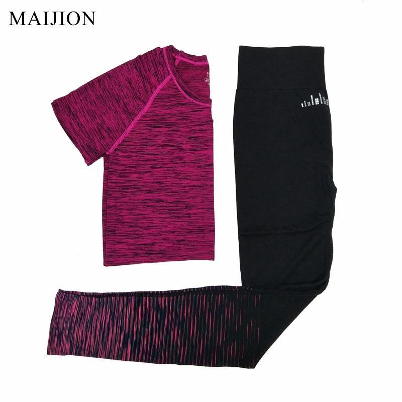 MAIJION 2017 여성 요가 실행 세트 빠른 건조 통기성 스포츠 T 셔츠 바지 조깅 세트 체육관 스포츠 양복 실행 Tracksuit