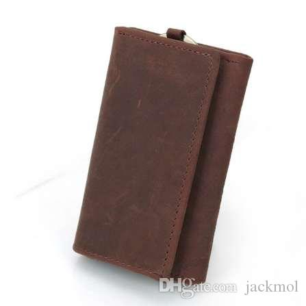 Vintage Multifunction Genuine Crazy Horse Leather Cowhide Men Car Key Wallet Wallets Holder Bag Coin Purse Housekeeper TW2904