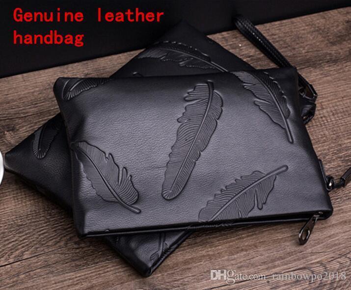 Factory brand men bag fashion leather men wallet trend head leather large capacity mens handbag soft leather leaf embossing men's hand