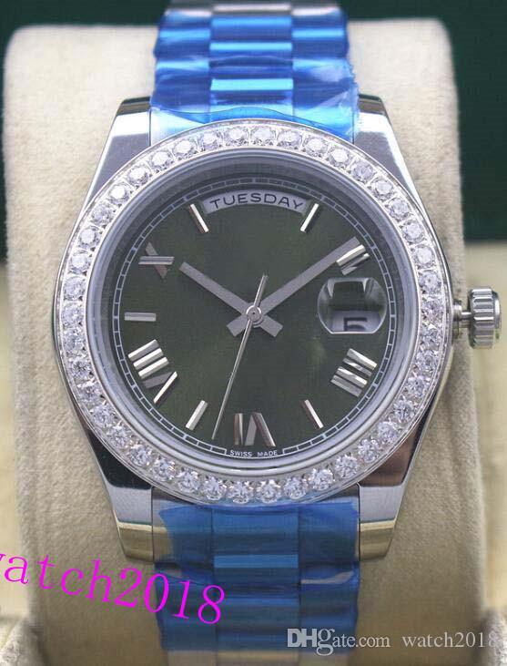 Dell'orologio della vigilanza Orologio di lusso romana Diamante Bezel orologio verde quadrante Busto 41mm uomini di marca di moda Automatic