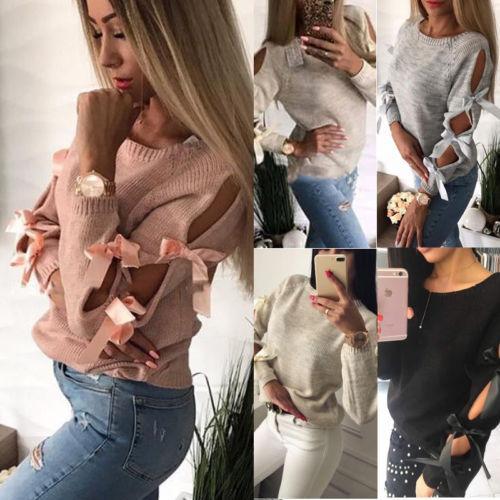 Yeni Kadın Giyim Yay Hollow out Dantel up Uzun Kollu Chic Kazak Kazak Gevşek Üstleri Örme Triko