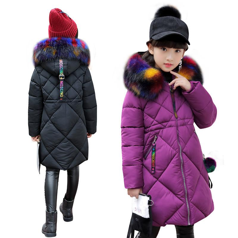 Kids Girls Parka Coat Jacket Cotton Down Padded Outwear Fur Hooded Overcoat Warm