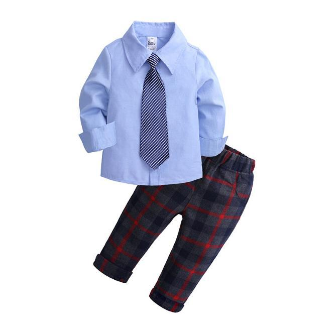 Boys Clothing Sets Autumn Kids Boy Clothes Suit Long Sleeve Blue Shirts+Overalls Children Gentleman Boy Outfits Set