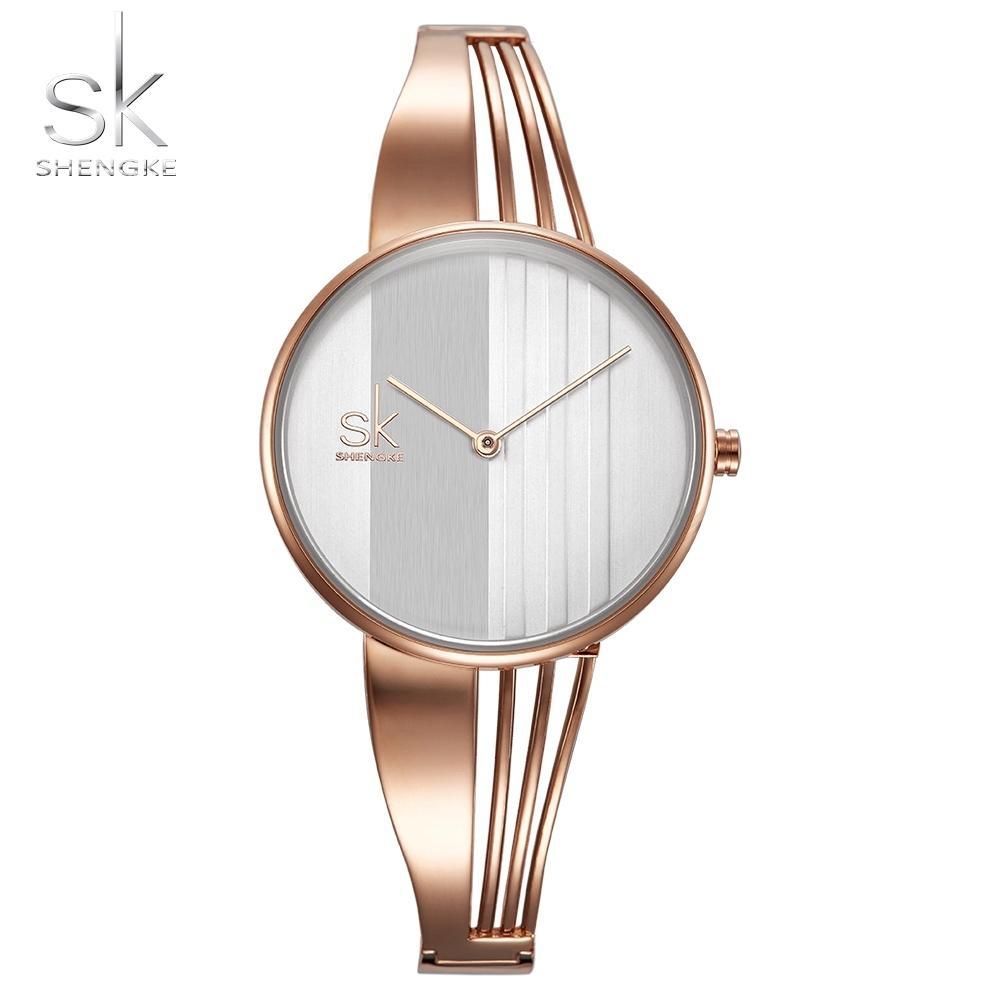 Shengke Moda Altın kaplama Kadın Saatler Charm Bayanlar Kol Saati Bilezik Kuvars İzle Kadınlar Montre Femme Relogio Feminino Y18102310