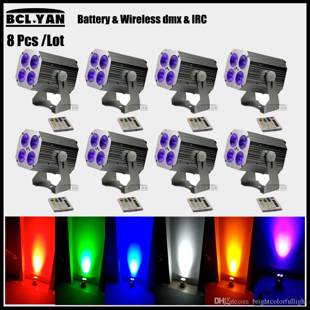 Stage lighting china Freedom Wireless Battery DMX512 LED Stage Light 4pcs*18W RGBWA UV 6 IN 1 LED PAR CANS With IR Remote 8XLOT