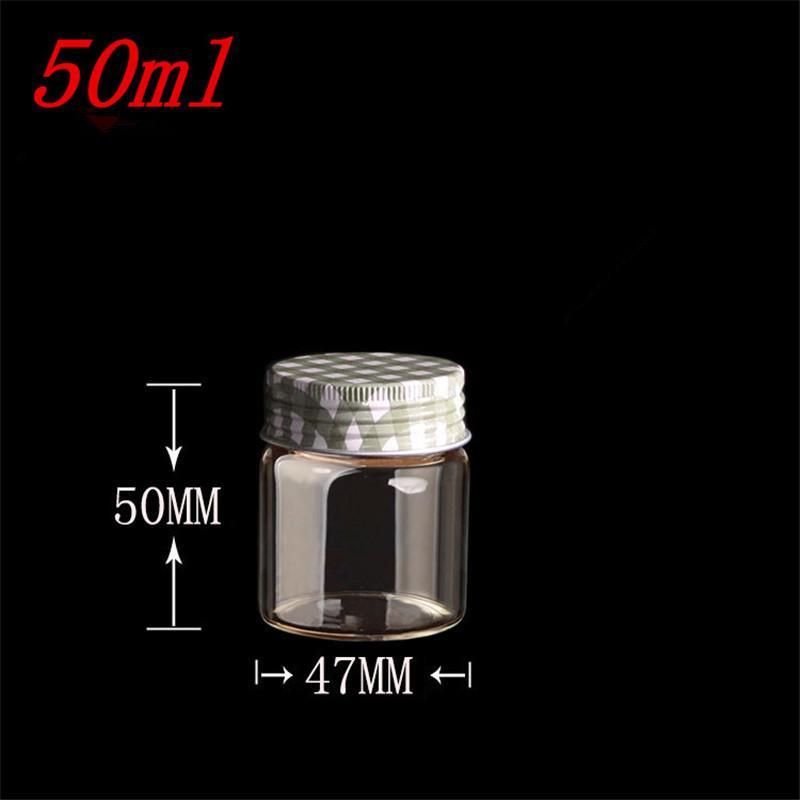 50ml Glass Bottles Screw Cap Silicone Stopper Sealing up Empty Jars Glass Sealed Bottles Capsule Liquid Bottles