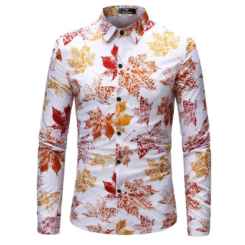 2018 قميص الرجال ربيع جديد الأزهار طباعة يتأهل قميص القطن بدوره أسفل الياقة واحدة برستد تصميم z30