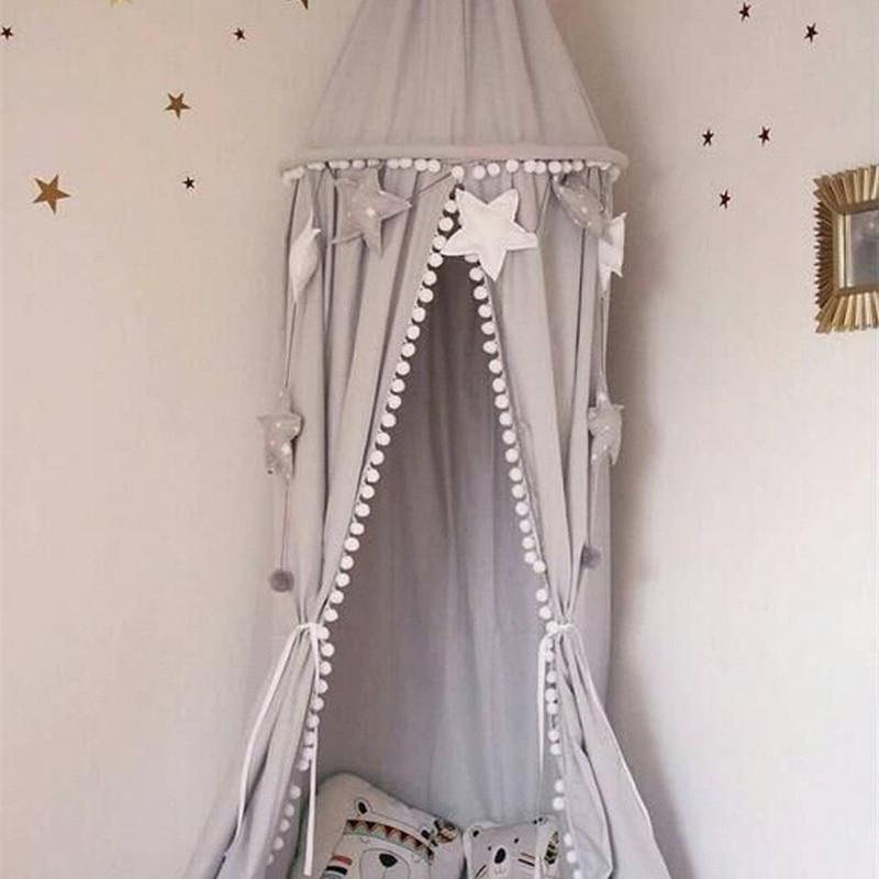 Bebé Estilo nórdico Sala de juegos Decoración Canopy Blanco Rosa Gris Cama colgante Marquesina con bola Borla Foto Prop Princesa Habitación