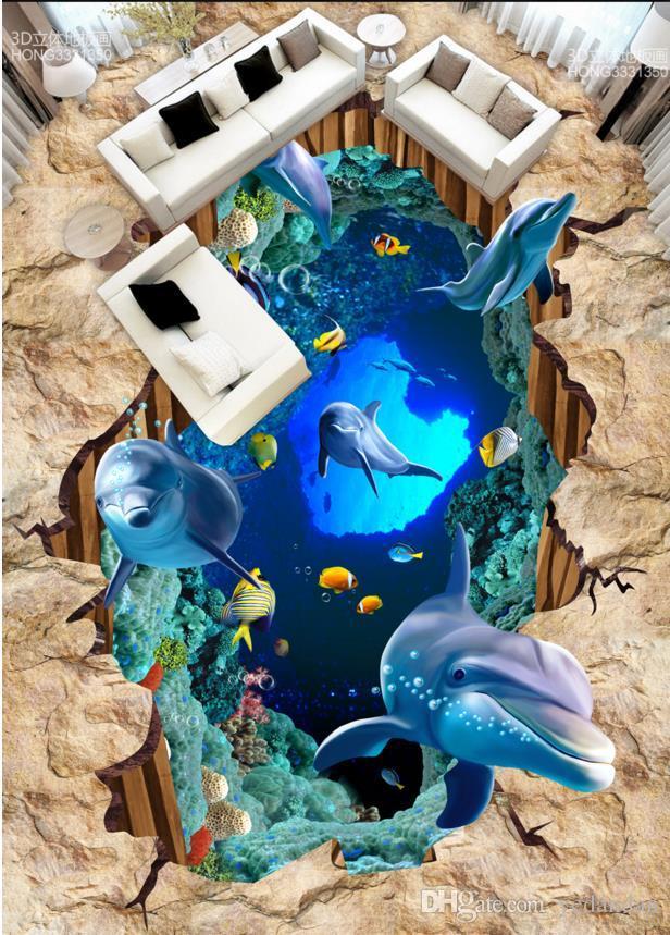 anpassen PVC-Bodenbelag selbstklebende Tapete 3D-Boden stereoskopische Delphin Fototapete 3D Bodenfliesen Tapete