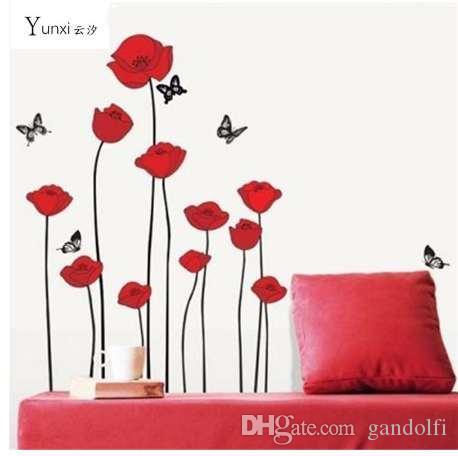 YunXi ROUGE POPPY Amovible Stickers Muraux Décor À La Maison Art Fleur Vinyle Murale Stickers Muraux 60 * 100 CM