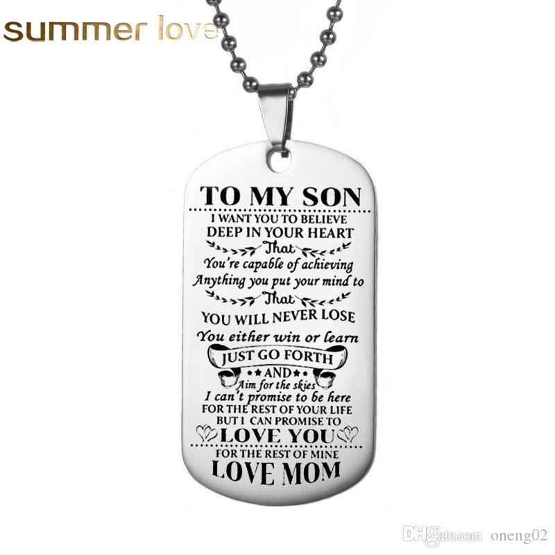 Aço inoxidável gravado palavras colar para filho melhor presente para pai para filho sempre lembrar custom made qualquer nome colar incrível presente jóia
