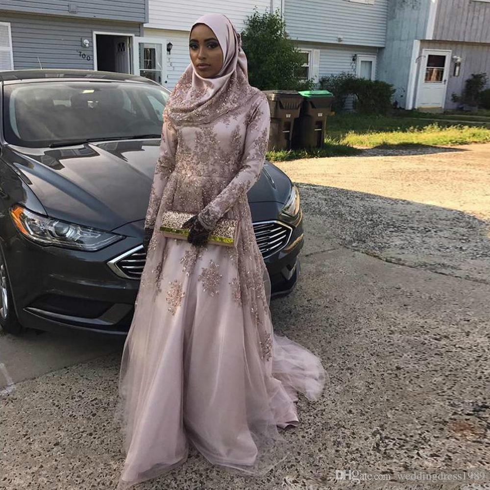 Modest Muslim Applique Perlen Abendkleider Langarm Saudi-arabien Vestidos De Festa Lange Party Kleid Prom Formal Pageant Celebrity Kleider